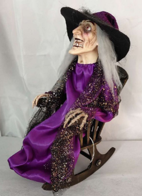 Animated Witch On Rocking Chair 37X22X56Cm