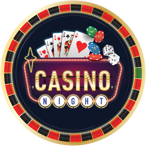 """ROLL THE DICE CASINO ROUND PAPER PLATES 1/2"""" / 26CM 10 pack"""