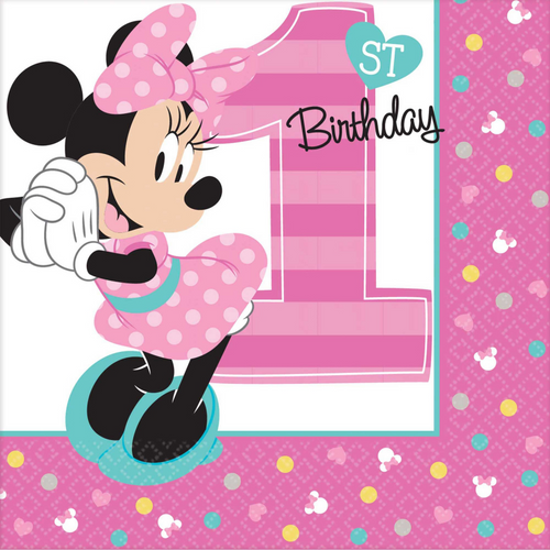 MINNIE FUN TO BE ONE BEVERAGE NAPKINS 16 PACK