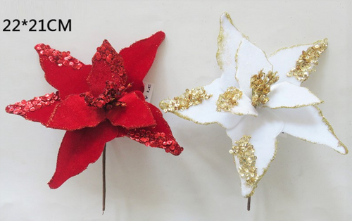 FLOWER RED/WHITE GOLD GLITTER 22X21CM
