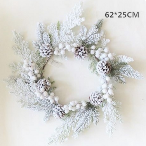 XMAS SNOWY RING PINE/BERRY/CONE 62/25CM DIA