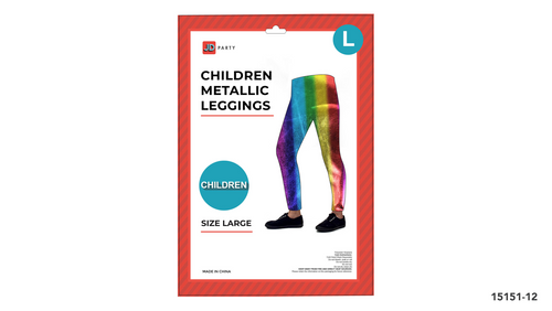 Children Metallic Leggings (L) (Green)