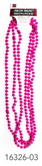 Neon Beaded Necklace (Hot Pink)3pk