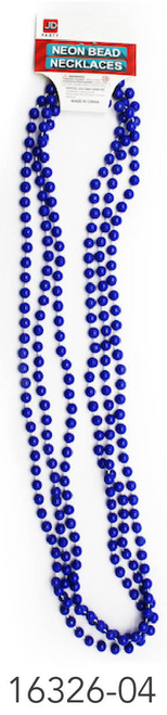 Neon Beaded Necklace (Blue)3pk