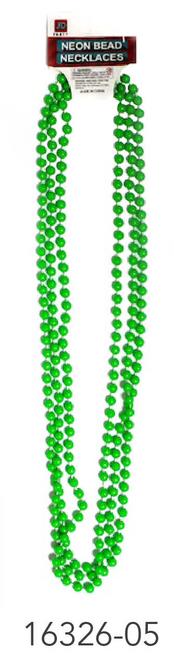 Neon Beaded Necklace (Green)3pk