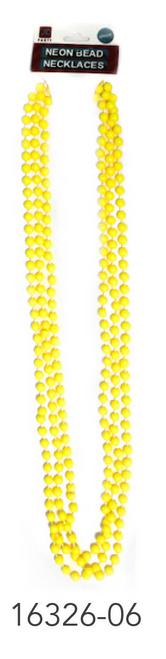 Neon Beaded Necklace (Yellow)3pk