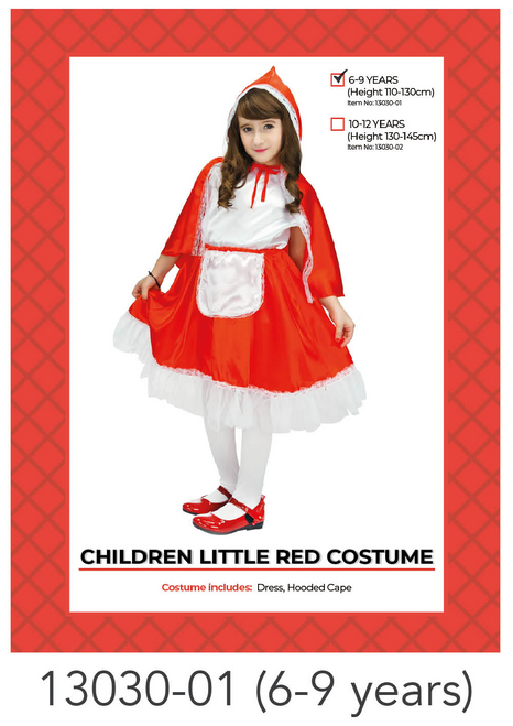 Children Little Red Riding Hood Costume (6-9 years)