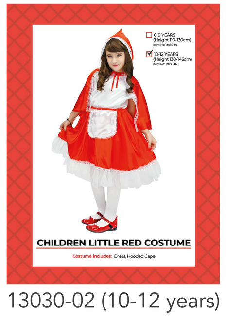 Children Little Red Riding Hood Costume (10-12 years)