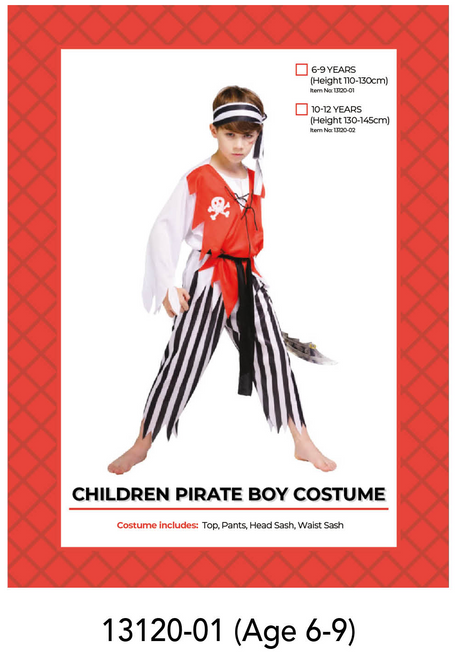 Children Pirate Boy Costume (6-9 years)