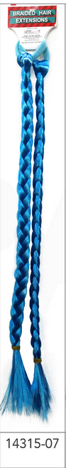 Long Coloured Braided Hair Extension (Light Blue)