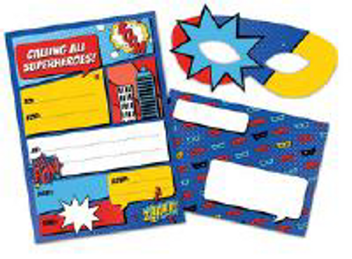 INVITE W MASK 8PK SUPERHERO