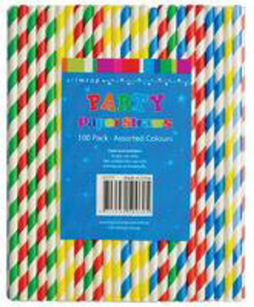 STRAWS PAPER ASSORTED 100PK