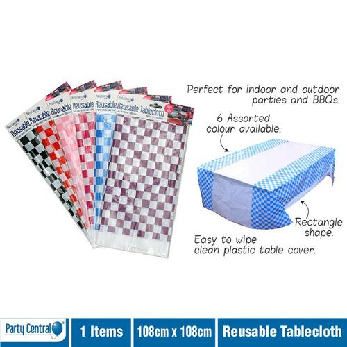 Tablecloth Reusable Chequered Design - 108cm x 180cm