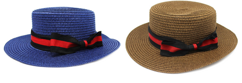 1920s Straw Hat (Red/ black ribbon)(Mixed)