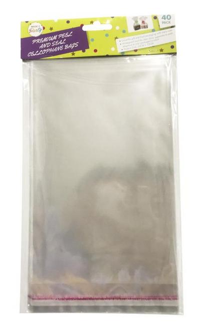 40PK Peal & Seal Cello Bags - 26CM x 15CM
