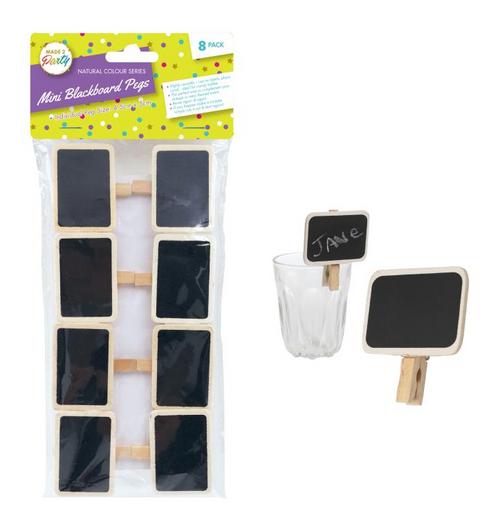 Mini Blackboard Pegs - Natural Colour Series -8PK