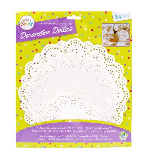 White Paper Lace Style Series Decorative Doilies-54PK