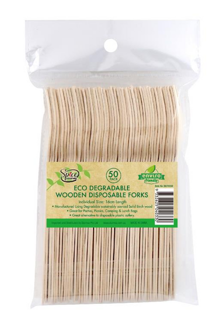 ECO Wooden Cutlery Bulk Catering Pack - Forks -50PK