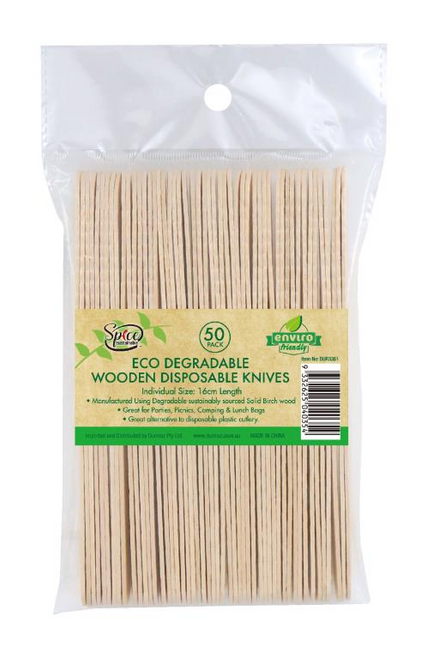 ECO Wooden Cutlery Bulk Catering Pack - Knifes -50PK