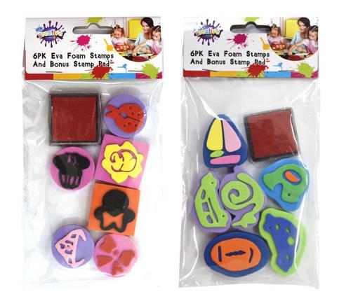 6PK EVA Foam Stamps with Bonus Stamp Pad(S)