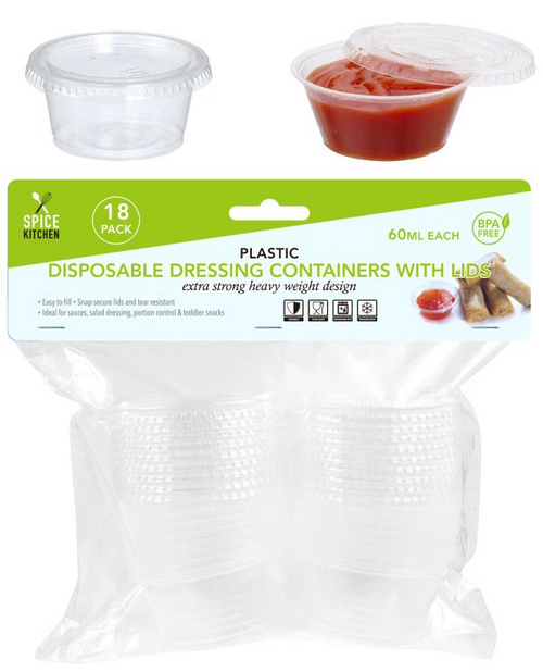 Mini Disposable Dressing Containers With Lids - 60ML-18PK