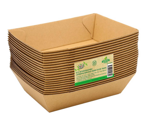 ECO 100% Biodegradable Paper Food Trays 16.5CM x 12.5CM x 4.5CM - 20PK
