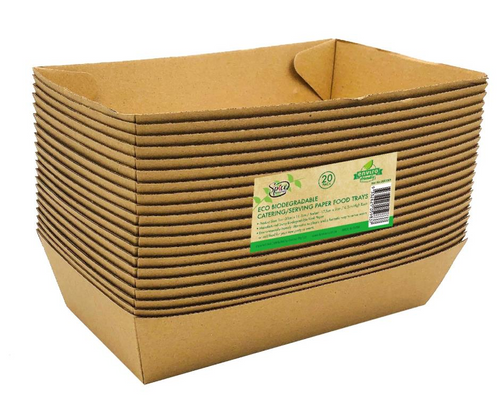 ECO 100% Biodegradable Paper Food Trays 20CM x 11.5CM x 4.5CM - 20PK
