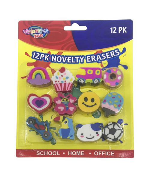 12PK Novelty Series Erasers