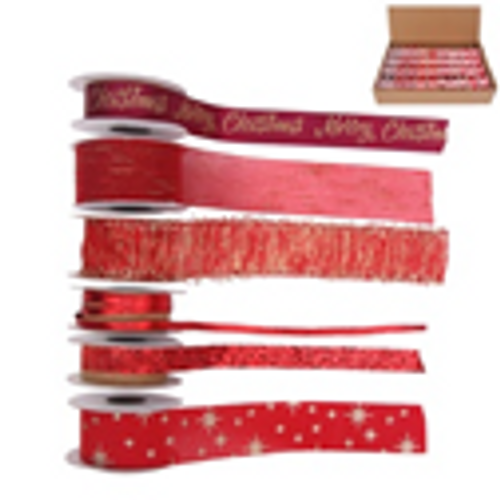 6A BURGUNDY CHRISTMAS RIBBON 2M