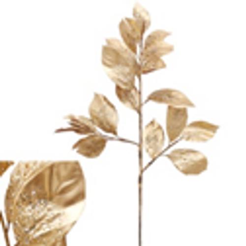 94CM GOLD MAGNOLIA LEAF W/BEADS STEM
