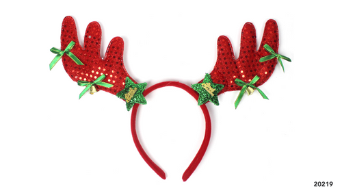 Christmas Headband (Red reindeer with bell )
