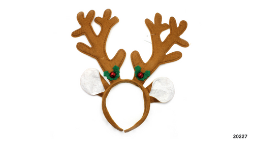 Christmas Reindeer Headband (Brown with bells)