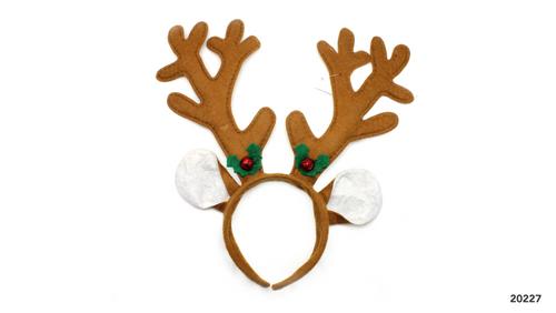 Christmas Reindeer Headband (Brown with bells)