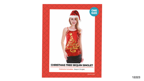 Adult Christmas Sequin Singlet (Merry Christmas + Tree)