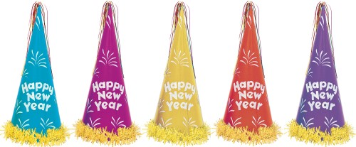 NEW YEAR'S GLITTER CONE HAT ASSORTMENT