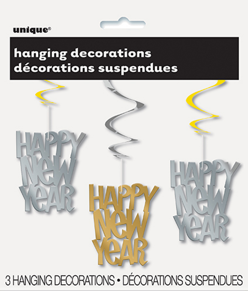 HAPPY NEW YEAR 3 G/S SWIRL DECOS