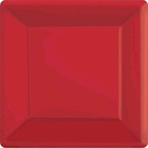 Ppr Plates 7in/17cm Squ 20CT-(Apple Red)