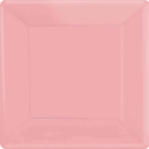 Ppr Plates 7in/17cm Squ 20CT-(New Pink)