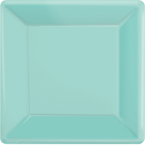 Ppr Plate 7in/17cm Squ 20PK (Robins Egg Blue)
