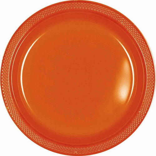Plas Plates 22.9cm 20CT-Orange