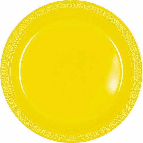 Plas Plates 22.9cm 20CT-Yellow