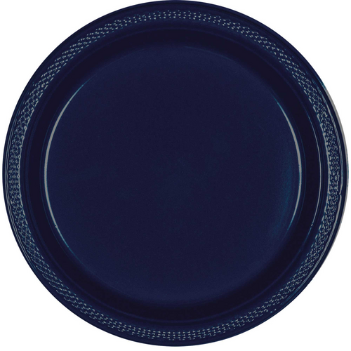 Plas Plates 22.9cm 20CT-Navy