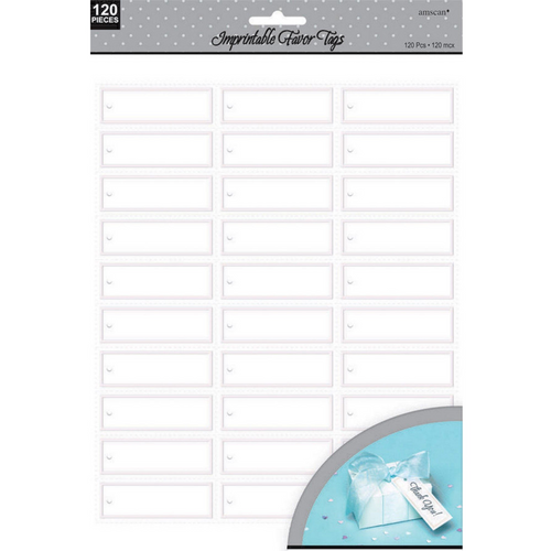 Imprintable Fav Tags -White