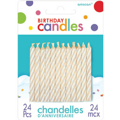 Candy Stripe Candle White