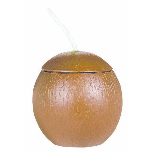 Coconut Shaped Cup w/Straw 18o