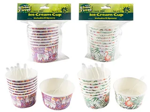 TROPICAL ICE CREAM CUP W SPOON/8
