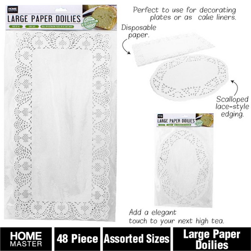 Doilies Large Paper Assorted Sizes 48pc