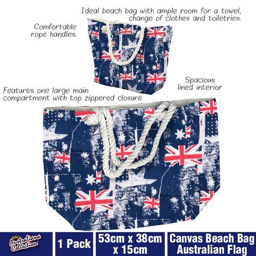 Canvas Beach Bag Australian Flag 53cm x 38cm x 15cm