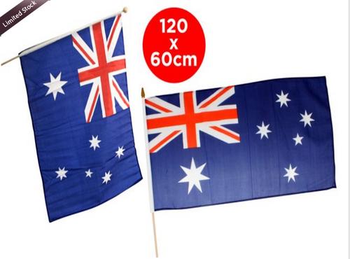 AUSTRALIA FLAG 120CM X 60CM ON WOODEN POLE