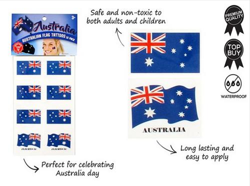 TATTOO AUSTRALIAN FLAG 16PK